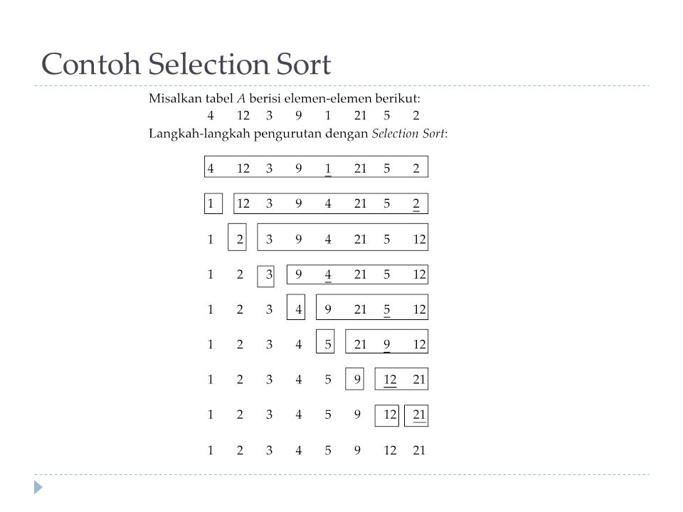 Contoh Selection Sort
