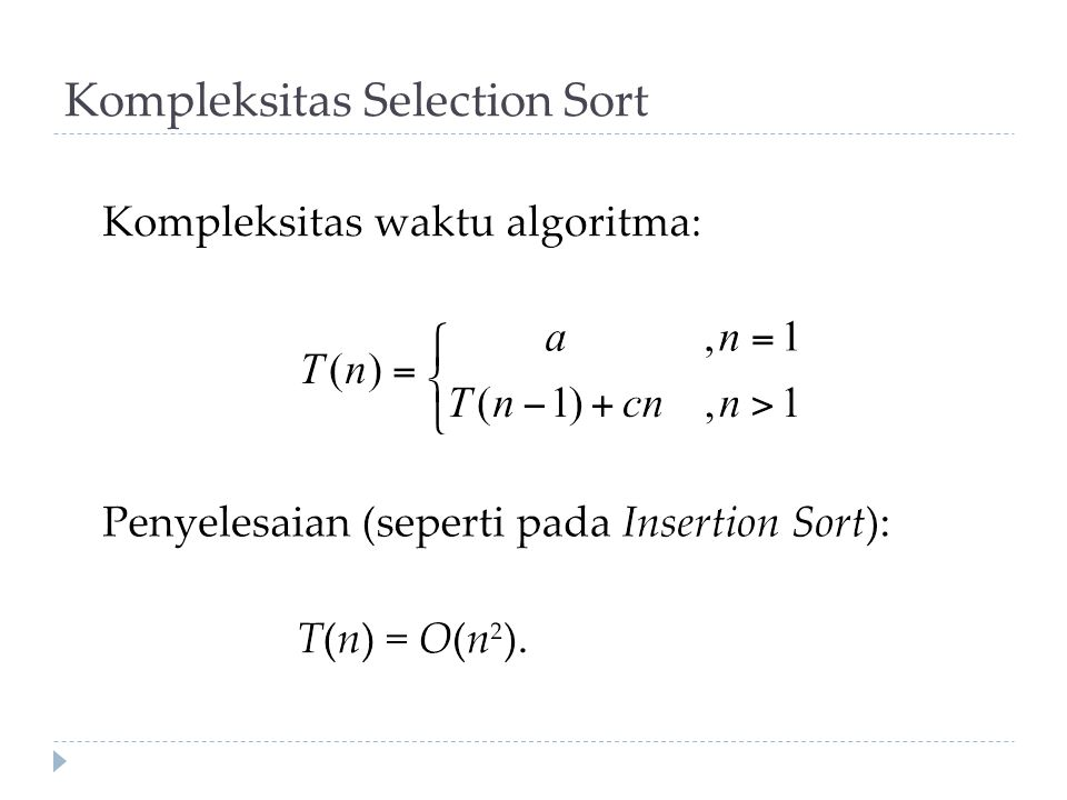 Kompleksitas Selection Sort