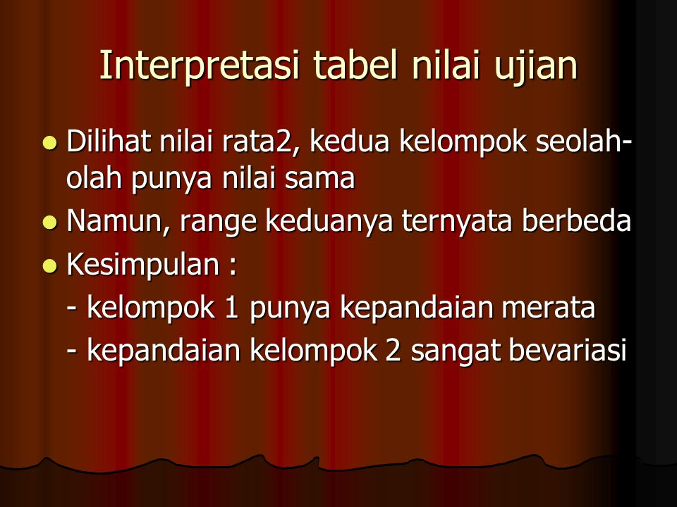 Interpretasi tabel nilai ujian