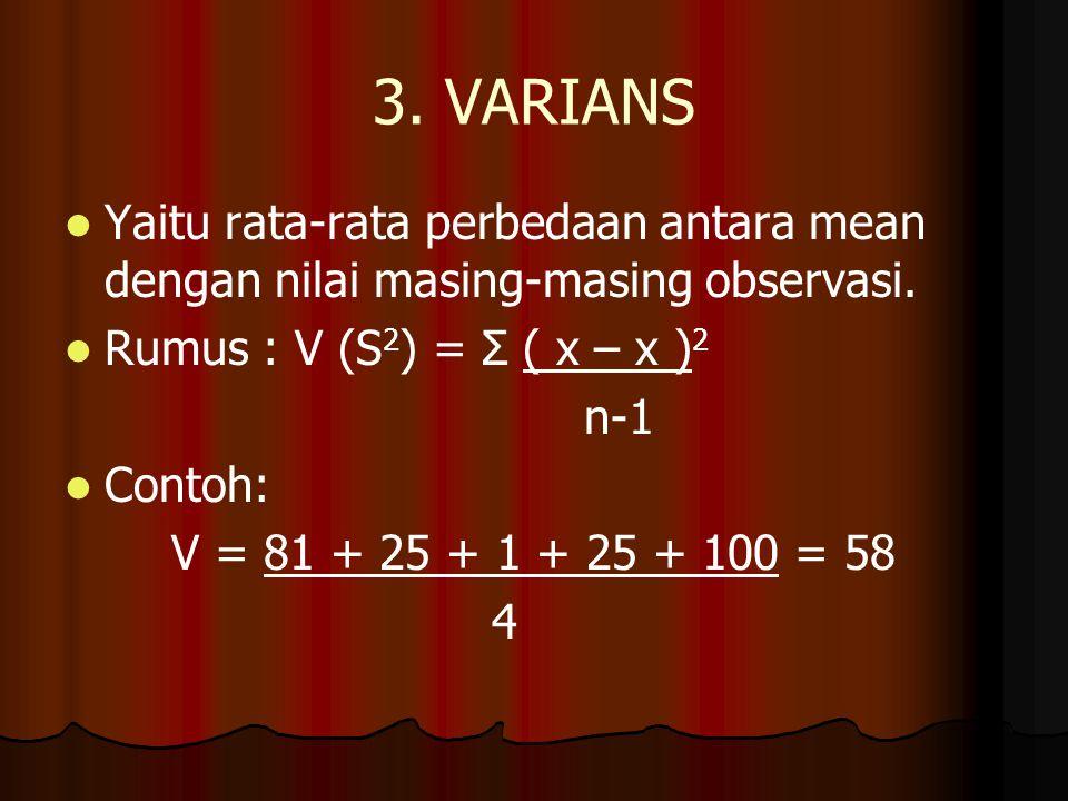 3. VARIANS Yaitu rata-rata perbedaan antara mean dengan nilai masing-masing observasi. Rumus : V (S2) = Σ ( x – x )2.