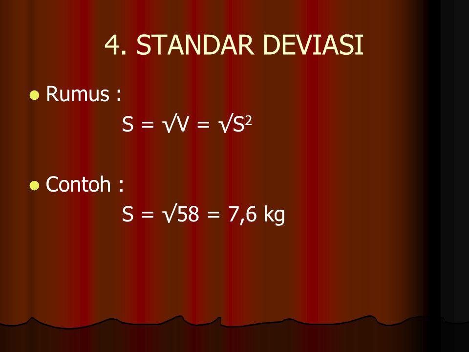 4. STANDAR DEVIASI Rumus : S = √V = √S2 Contoh : S = √58 = 7,6 kg