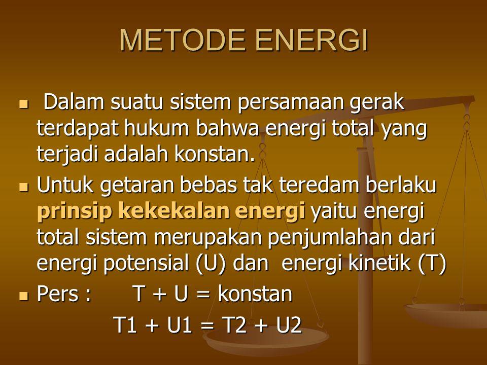 METODE ENERGI Dalam suatu sistem persamaan gerak terdapat hukum bahwa energi total yang terjadi adalah konstan.