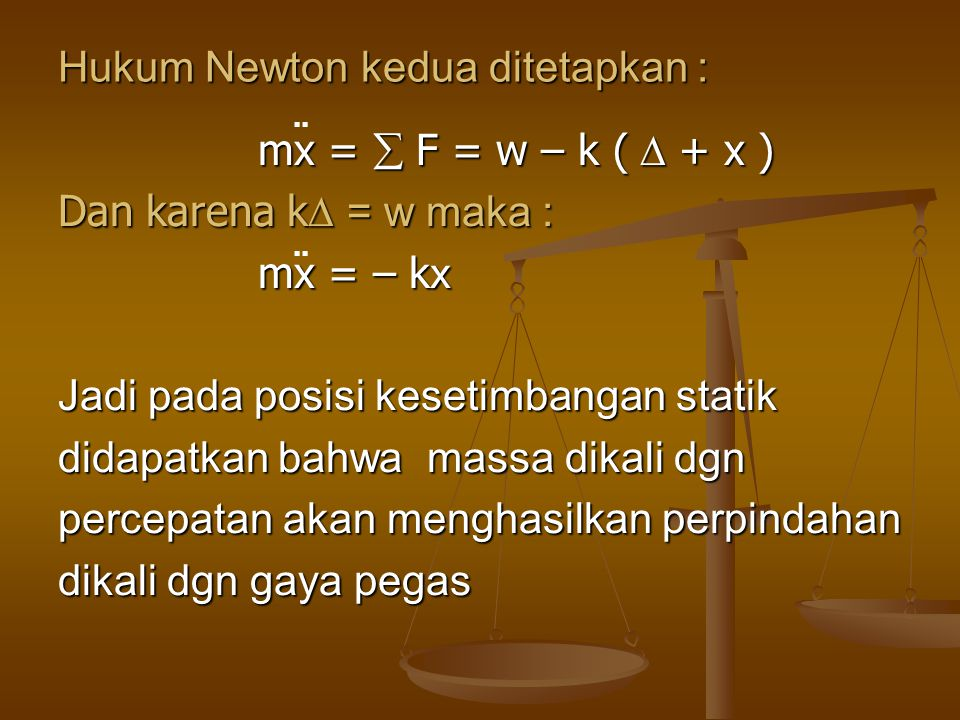 Hukum Newton kedua ditetapkan :