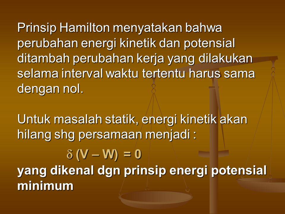 Prinsip Hamilton menyatakan bahwa perubahan energi kinetik dan potensial ditambah perubahan kerja yang dilakukan selama interval waktu tertentu harus sama dengan nol.