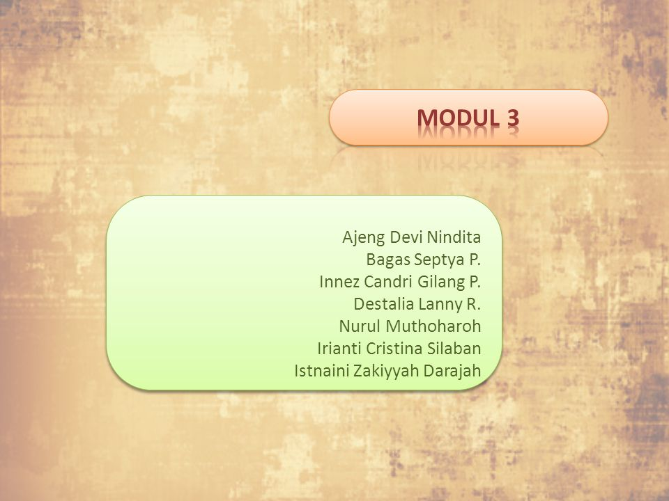 MODUL 3 Ajeng Devi Nindita Bagas Septya P. Innez Candri Gilang P.