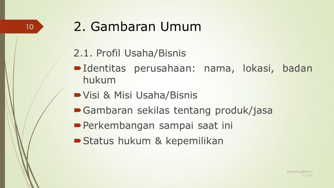 2. Gambaran Umum 2.1. Profil Usaha/Bisnis
