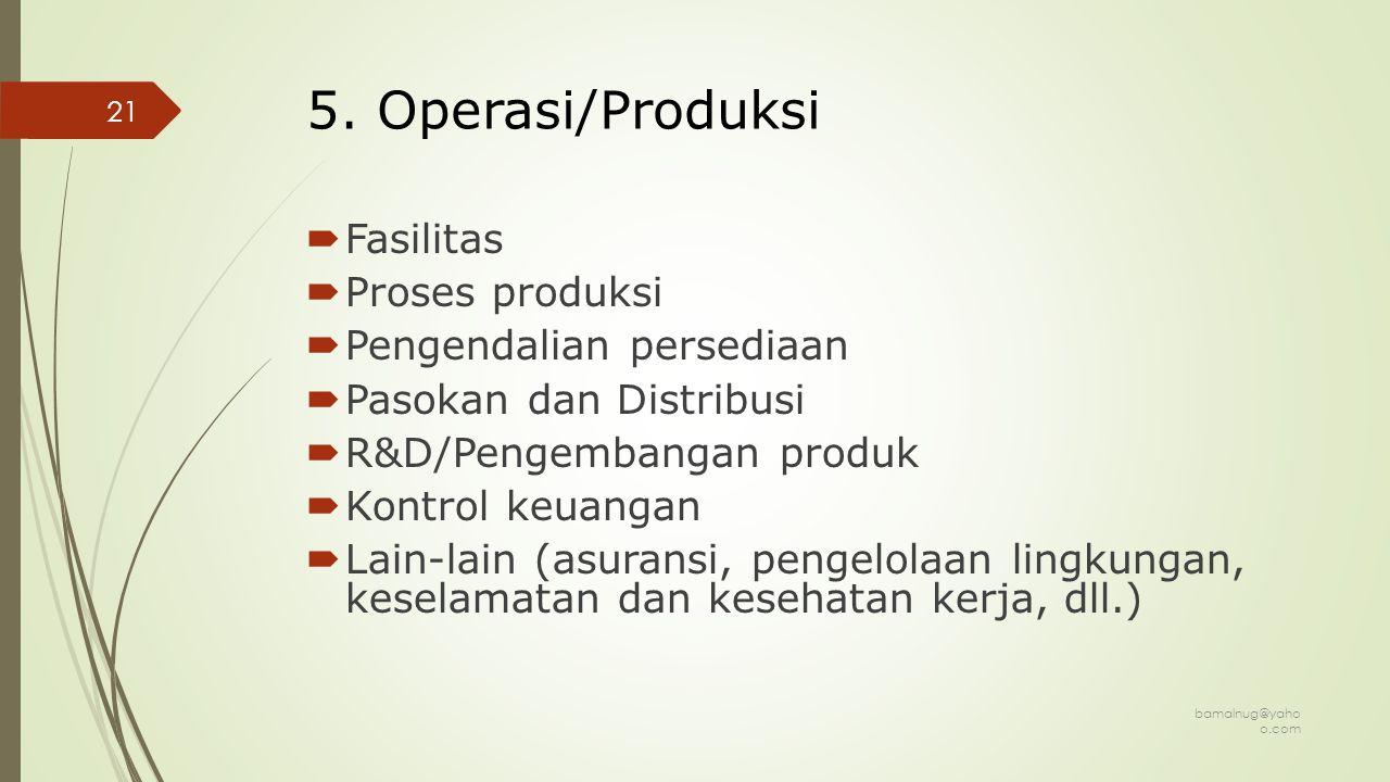 5. Operasi/Produksi Fasilitas Proses produksi Pengendalian persediaan