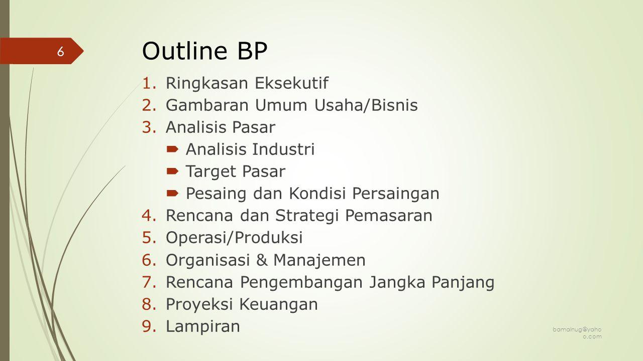 Outline BP Ringkasan Eksekutif Gambaran Umum Usaha/Bisnis