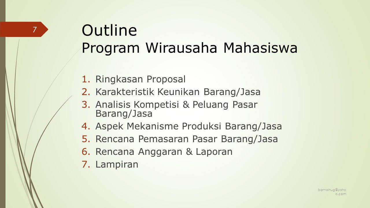 Outline Program Wirausaha Mahasiswa