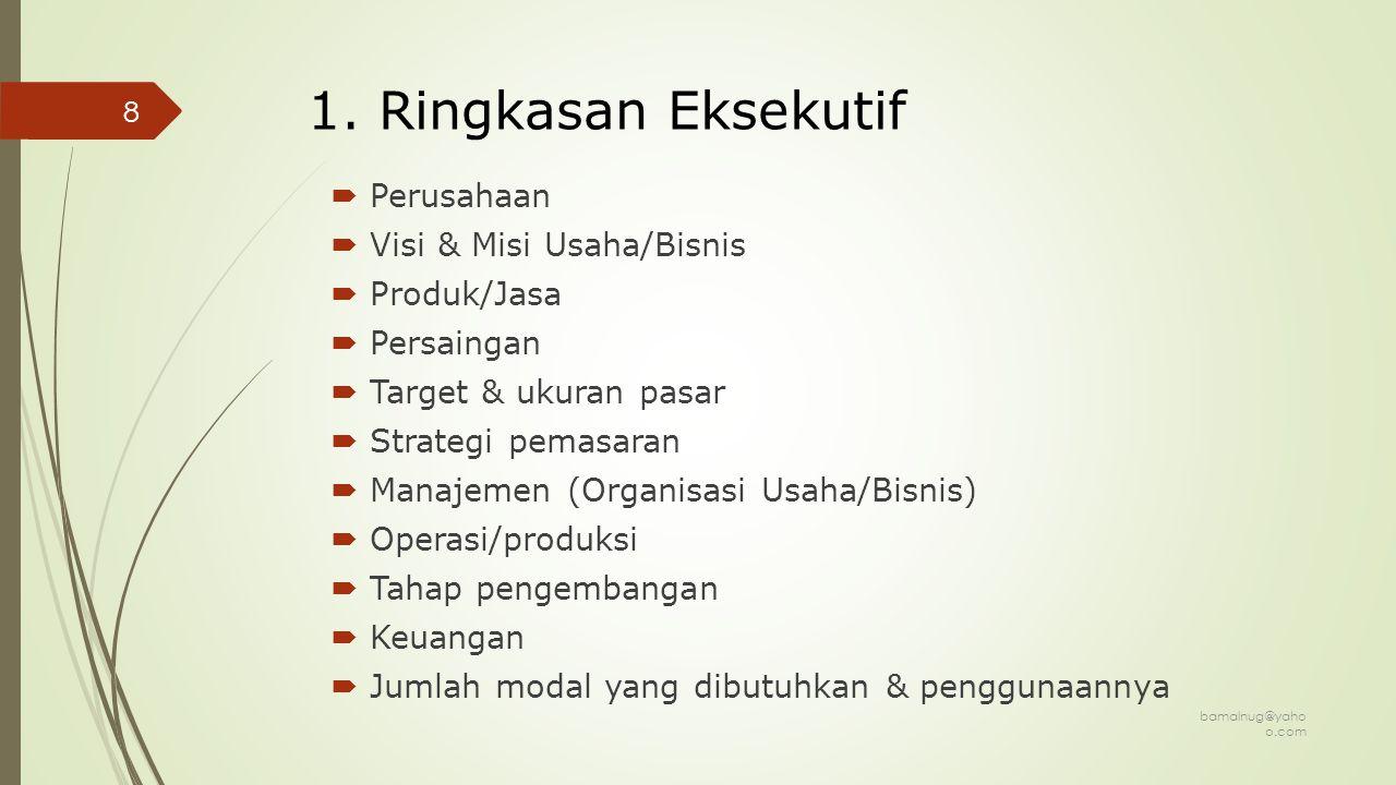 1. Ringkasan Eksekutif Perusahaan Visi & Misi Usaha/Bisnis Produk/Jasa