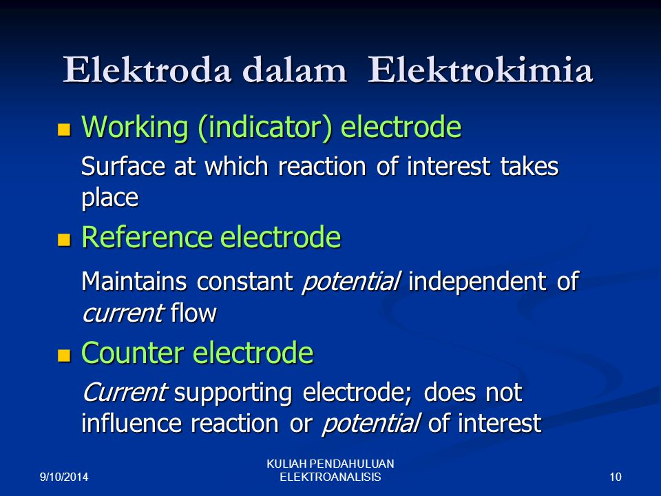 Elektroda dalam Elektrokimia