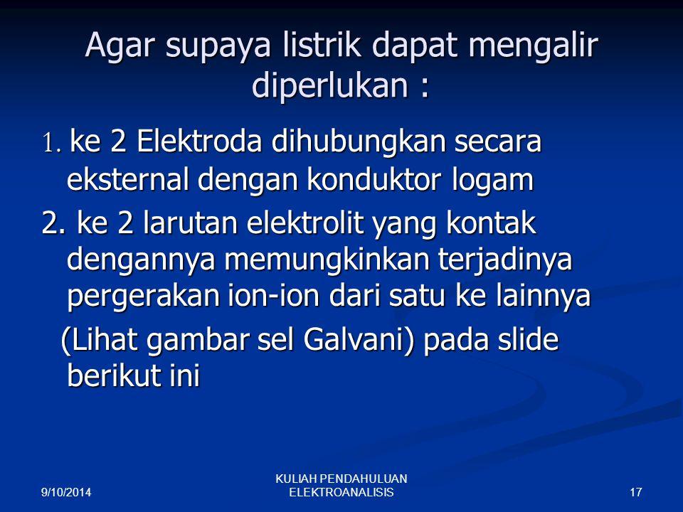 Agar supaya listrik dapat mengalir diperlukan :