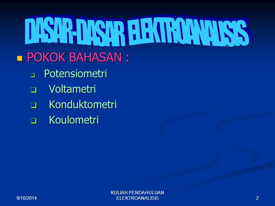 DASAR-DASAR ELEKTROANALISIS