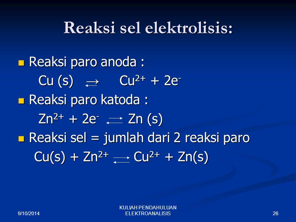 Reaksi sel elektrolisis: