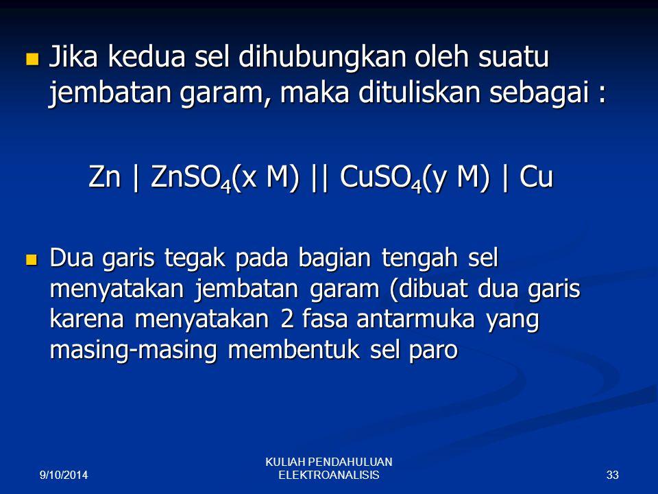 Zn | ZnSO4(x M) || CuSO4(y M) | Cu
