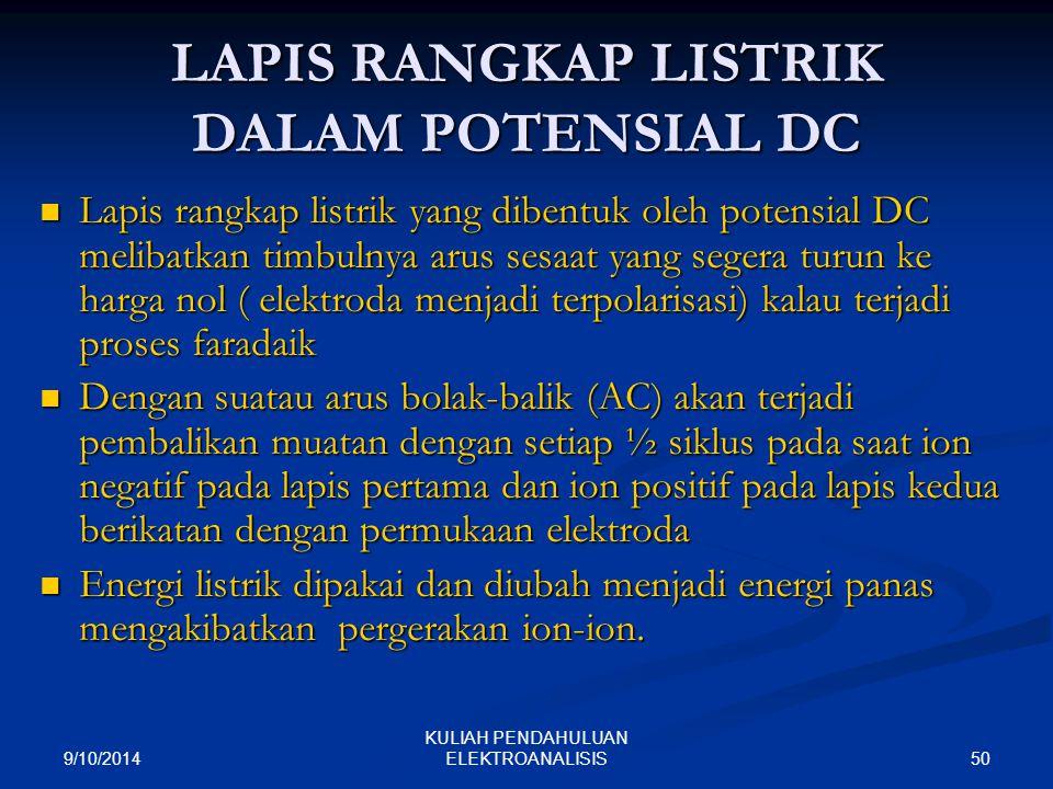 LAPIS RANGKAP LISTRIK DALAM POTENSIAL DC
