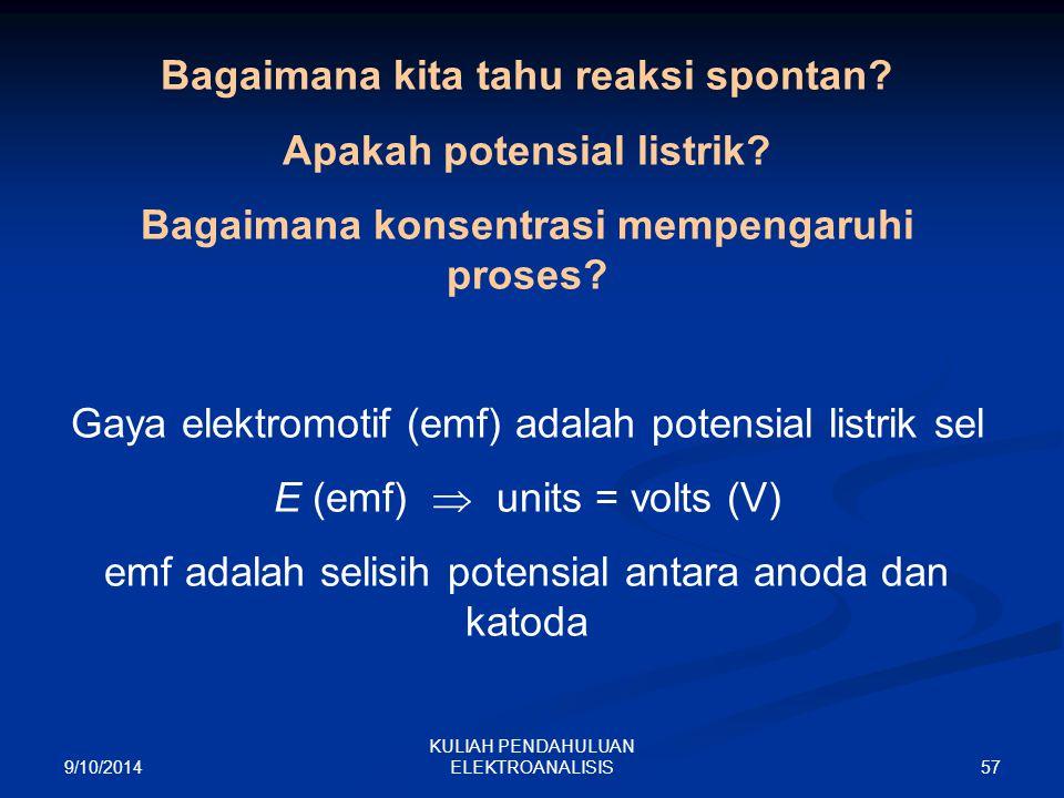 Bagaimana kita tahu reaksi spontan Apakah potensial listrik