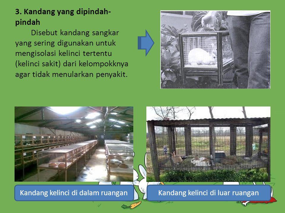 3. Kandang yang dipindah-pindah Disebut kandang sangkar yang sering digunakan untuk mengisolasi kelinci tertentu (kelinci sakit) dari kelompokknya agar tidak menularkan penyakit.