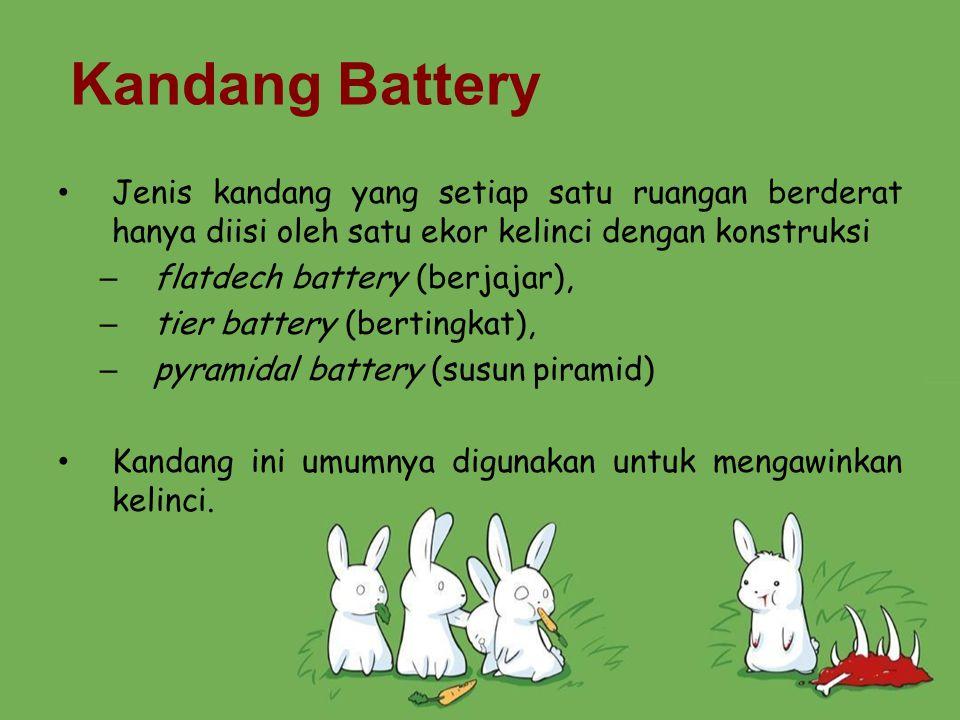 Kandang Battery Jenis kandang yang setiap satu ruangan berderat hanya diisi oleh satu ekor kelinci dengan konstruksi.