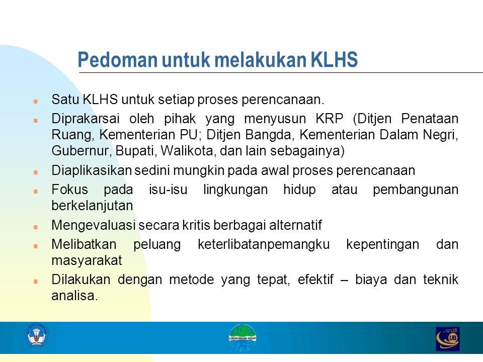 Pedoman untuk melakukan KLHS
