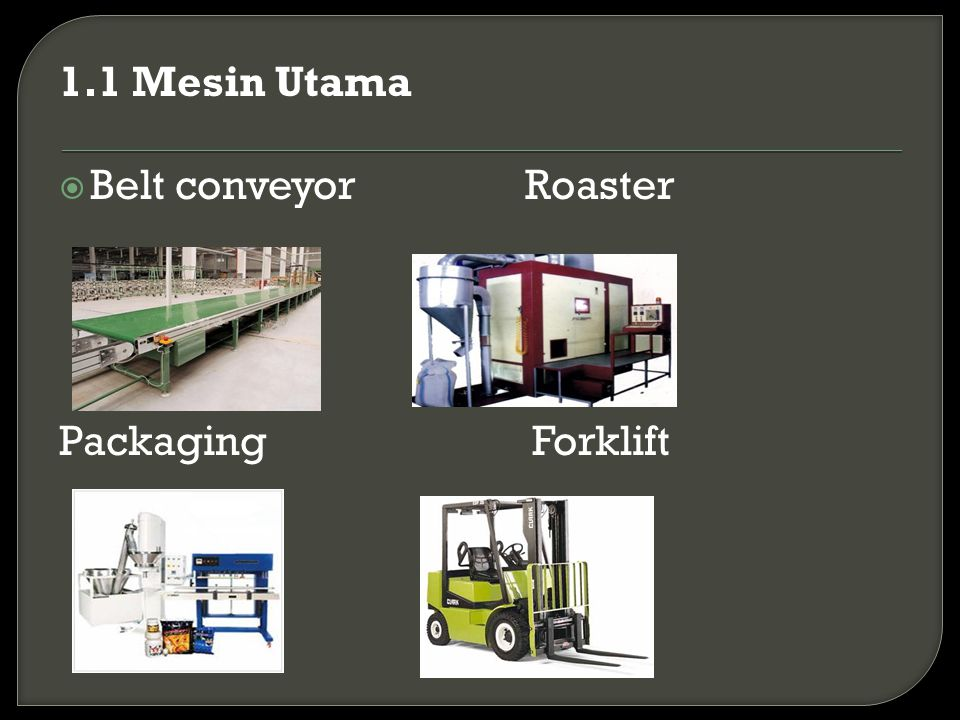 1.1 Mesin Utama Belt conveyor Roaster Packaging Forklift