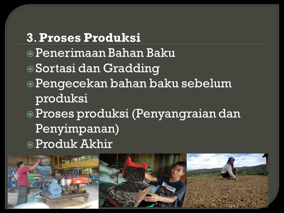 3. Proses Produksi Penerimaan Bahan Baku. Sortasi dan Gradding. Pengecekan bahan baku sebelum produksi.
