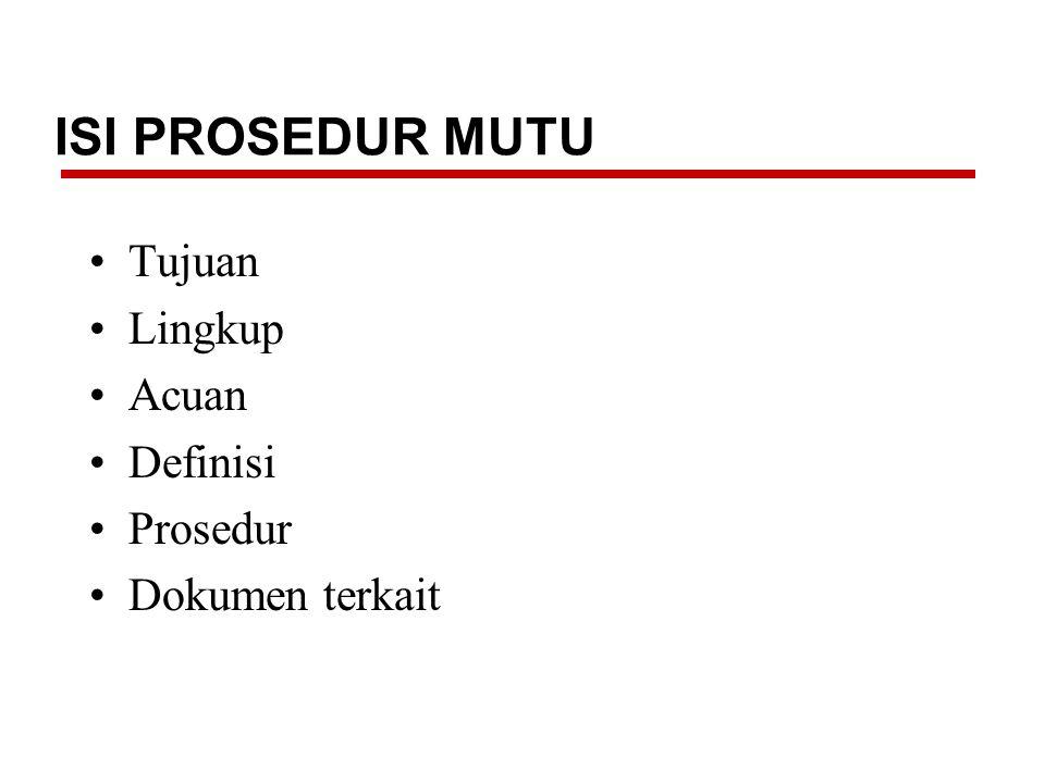 ISI PROSEDUR MUTU Tujuan Lingkup Acuan Definisi Prosedur