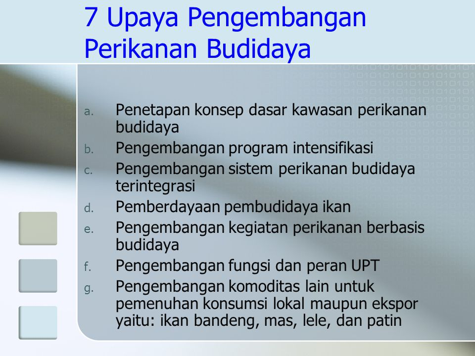 7 Upaya Pengembangan Perikanan Budidaya