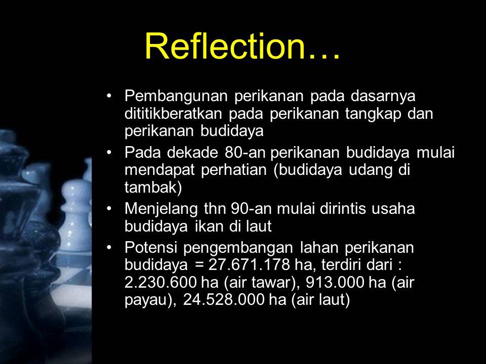 Reflection… Pembangunan perikanan pada dasarnya dititikberatkan pada perikanan tangkap dan perikanan budidaya.