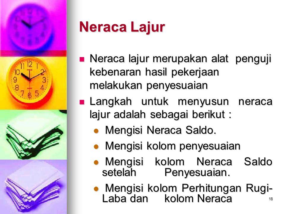 Neraca Lajur Neraca lajur merupakan alat penguji kebenaran hasil pekerjaan melakukan penyesuaian.