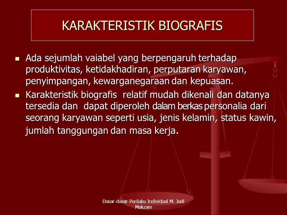 KARAKTERISTIK BIOGRAFIS