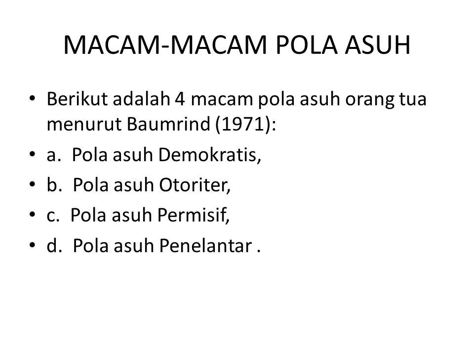 MACAM-MACAM POLA ASUH Berikut adalah 4 macam pola asuh orang tua menurut Baumrind (1971): a. Pola asuh Demokratis,