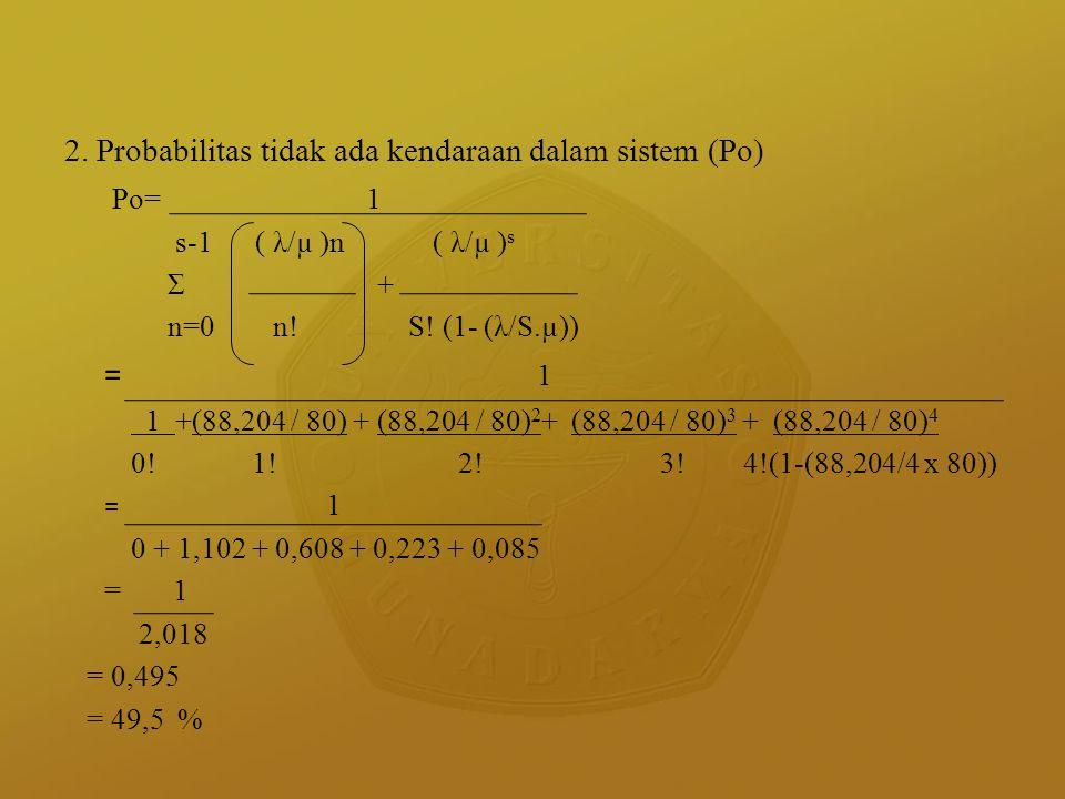 = 1 2. Probabilitas tidak ada kendaraan dalam sistem (Po) Po= 1