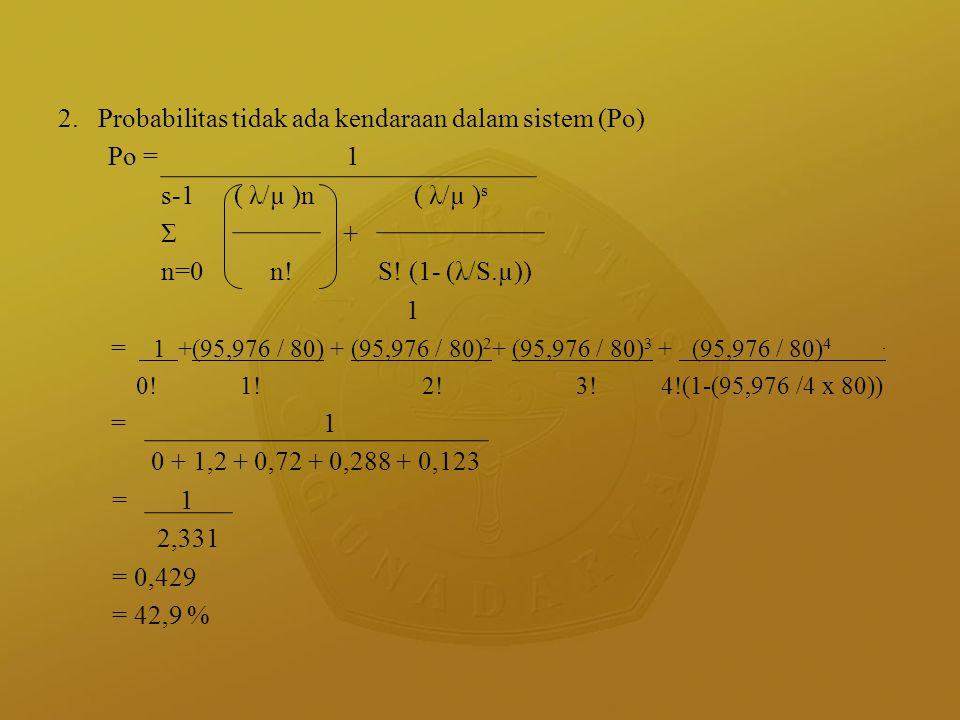 2. Probabilitas tidak ada kendaraan dalam sistem (Po) Po = 1
