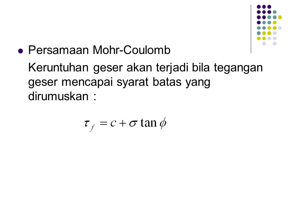 Persamaan Mohr-Coulomb