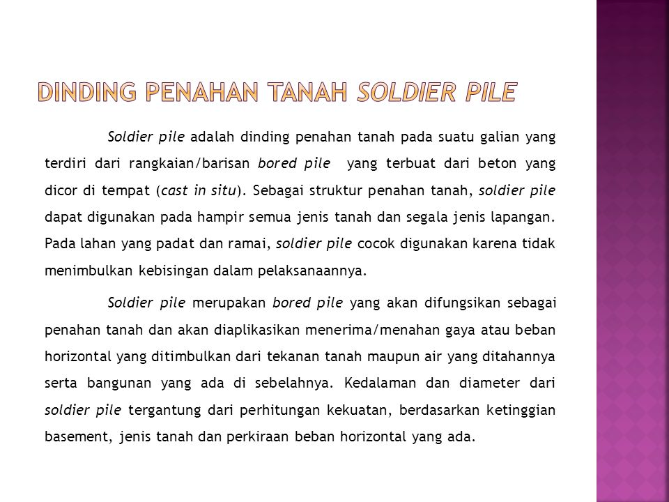 Dinding penahan tanah soldier pile