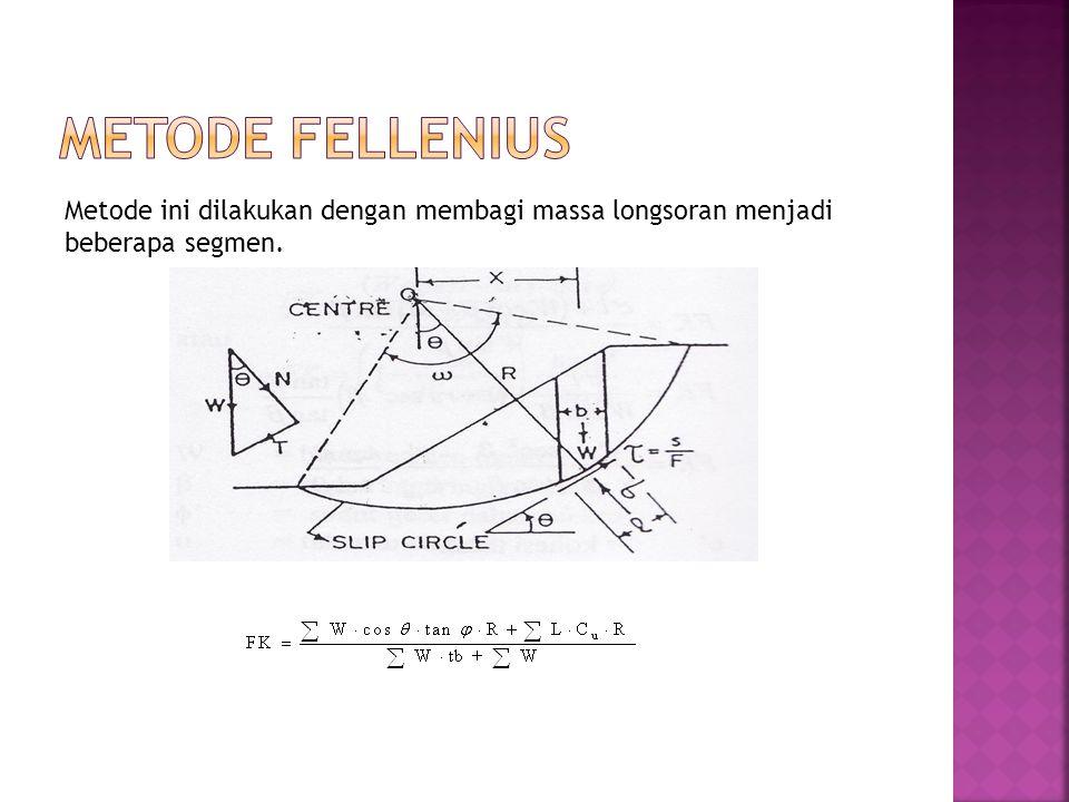 Metode Fellenius Metode ini dilakukan dengan membagi massa longsoran menjadi beberapa segmen.