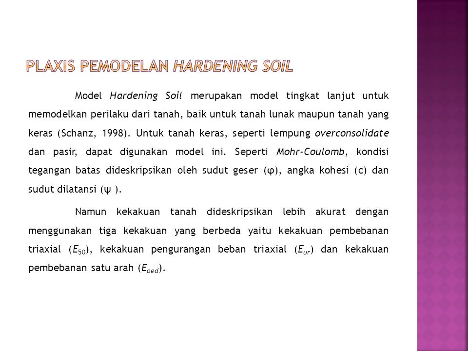PLAXIS pemodelan Hardening Soil