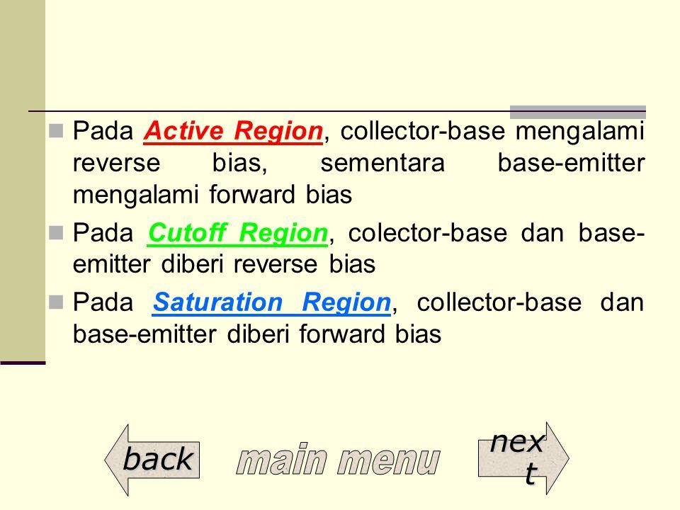 Pada Active Region, collector-base mengalami reverse bias, sementara base-emitter mengalami forward bias
