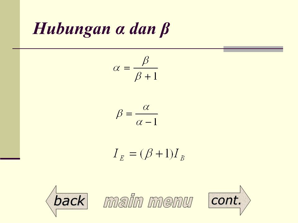 Hubungan α dan β main menu back cont.