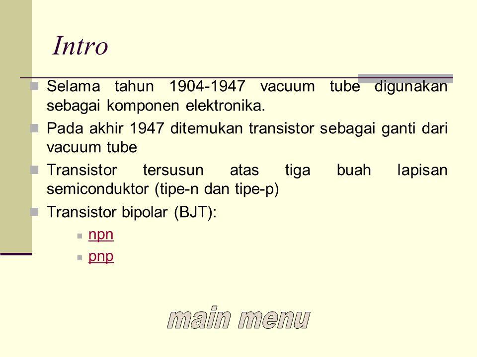 Intro Selama tahun 1904-1947 vacuum tube digunakan sebagai komponen elektronika. Pada akhir 1947 ditemukan transistor sebagai ganti dari vacuum tube.
