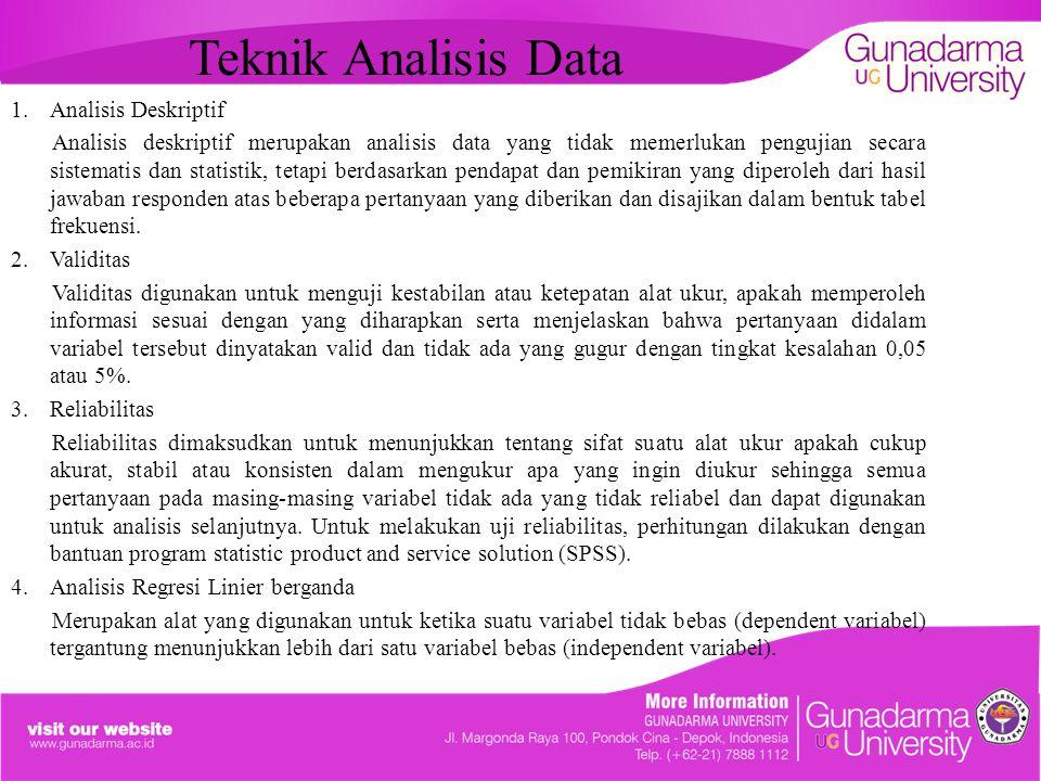 Teknik Analisis Data Analisis Deskriptif