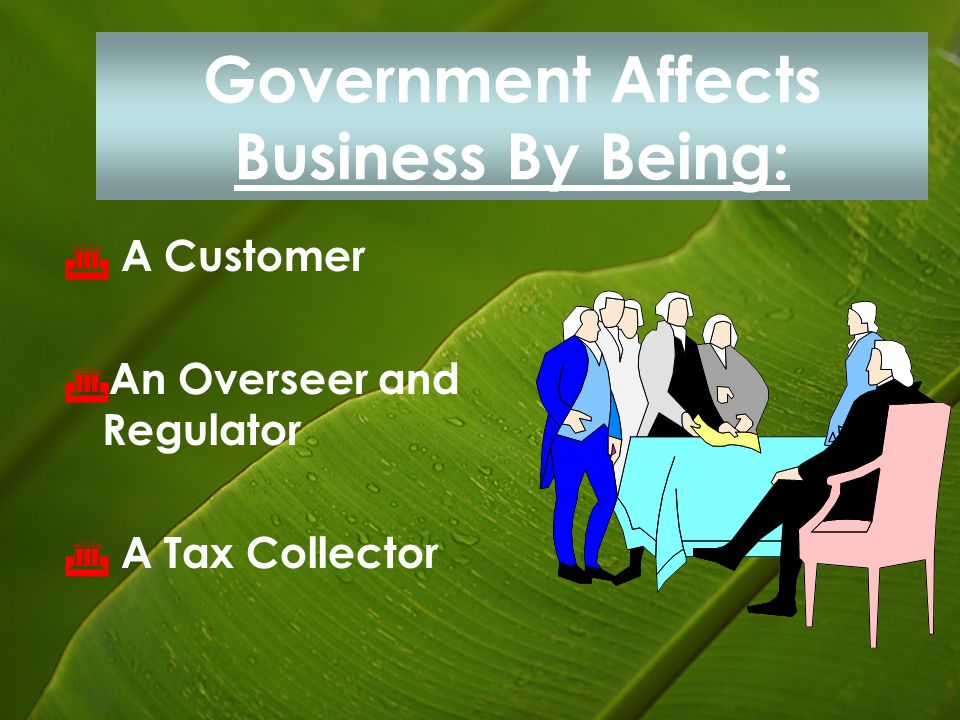 Government Affects Business By Being: