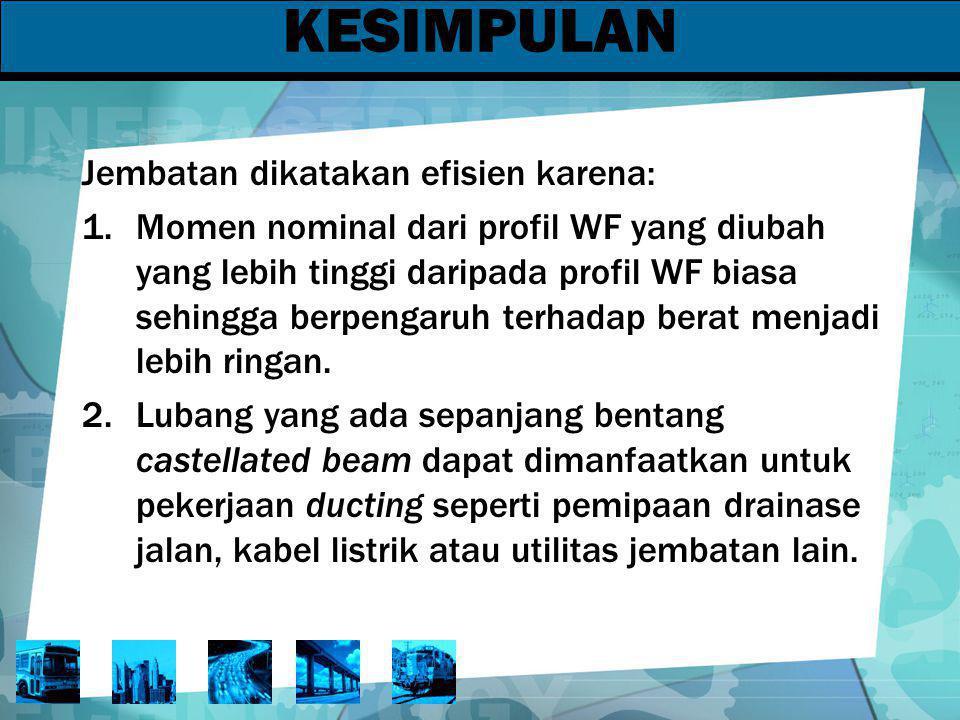 KESIMPULAN Jembatan dikatakan efisien karena:
