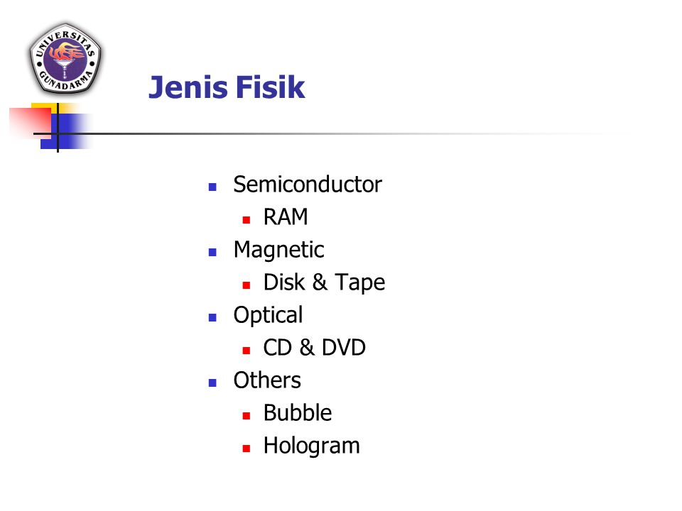 Jenis Fisik Semiconductor RAM Magnetic Disk & Tape Optical CD & DVD