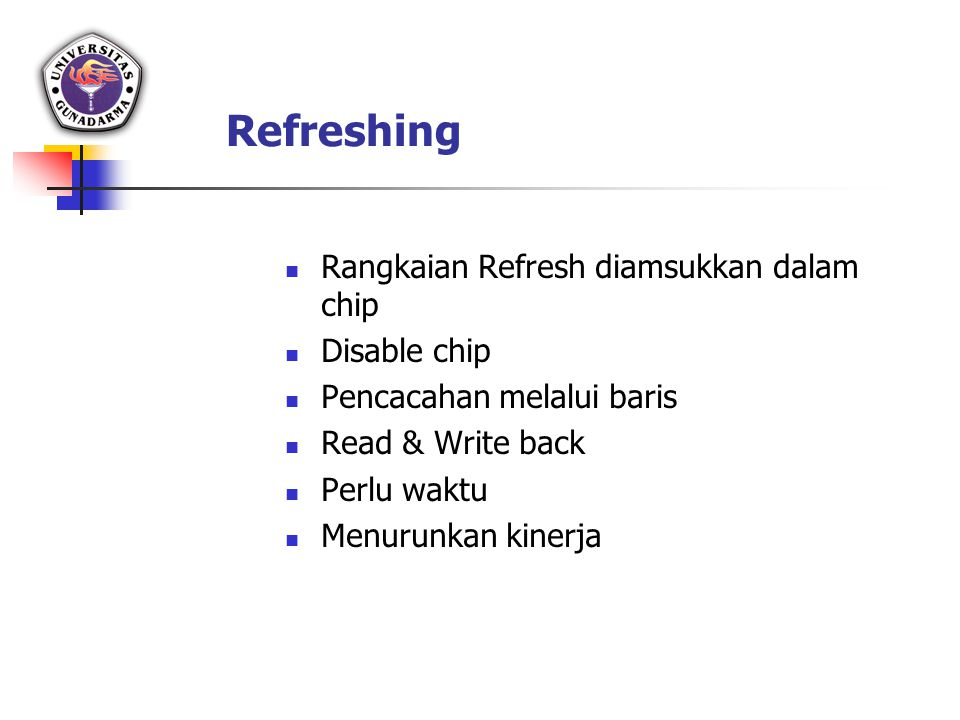 Refreshing Rangkaian Refresh diamsukkan dalam chip Disable chip