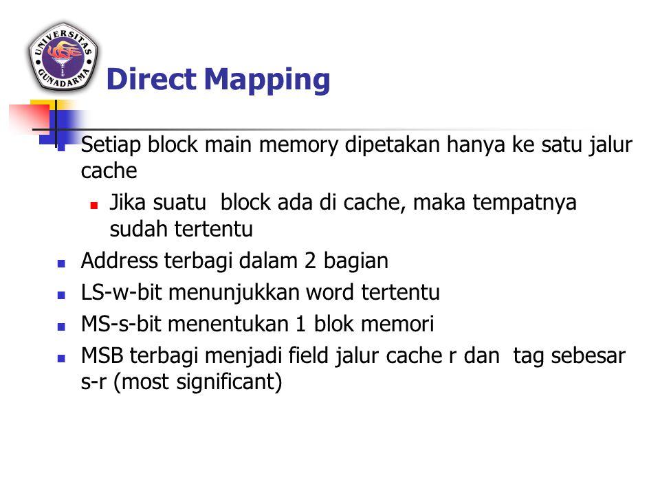 Direct Mapping Setiap block main memory dipetakan hanya ke satu jalur cache. Jika suatu block ada di cache, maka tempatnya sudah tertentu.