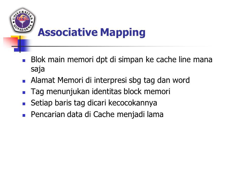 Associative Mapping Blok main memori dpt di simpan ke cache line mana saja. Alamat Memori di interpresi sbg tag dan word.
