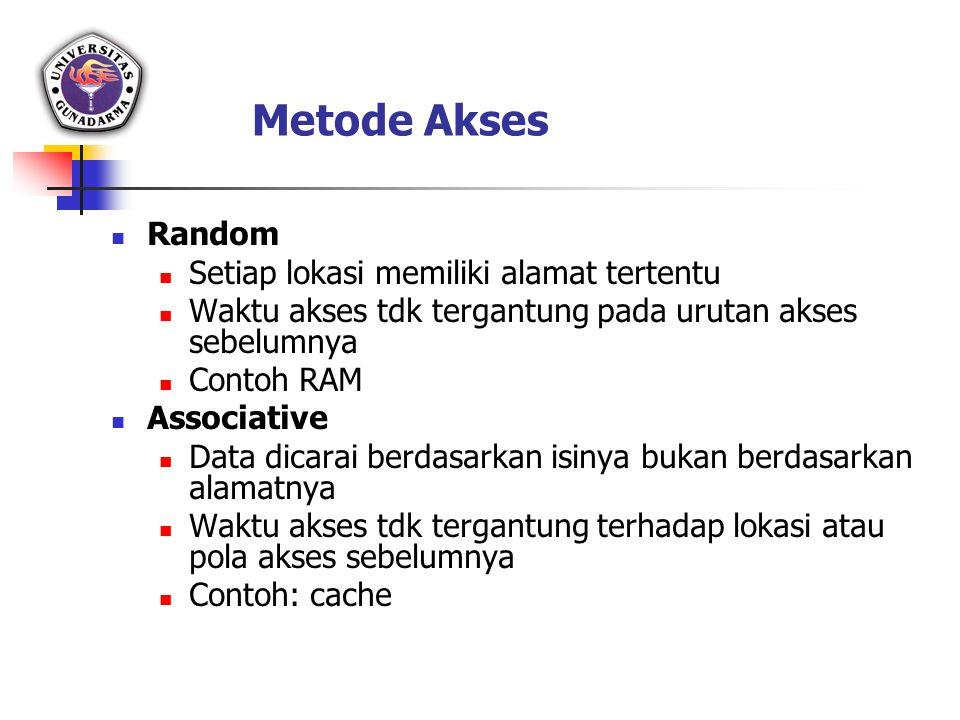 Metode Akses Random Setiap lokasi memiliki alamat tertentu