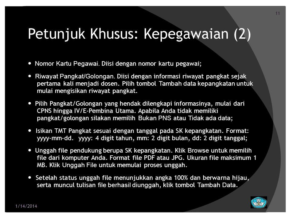 Petunjuk Khusus: Kepegawaian (2)